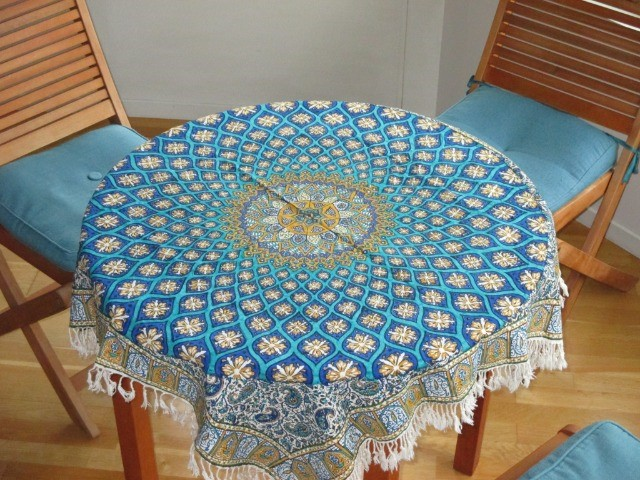Home & Garden Home & Living Lounge & Dinning Room : Handmade Tablecloth (100x100 cm), Persian Cotton Tablecloth, Washable Tablecloth, Ghalamkar