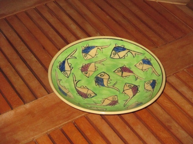 Home & Garden Home & Living Kitchen : Beautiful Persian pottery, hand-made and hand-painted plate, fish pattern plate