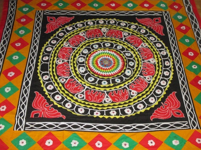 Home & Garden Home & Living Lounge & Dinning Room : Colourful Indian-style tablecloth (180x180 cm), handmade square tablecloth